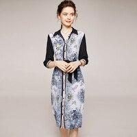 100% Silk Women's Runway Dress Turn Down Collar 3/4 Sleeves Printed Sash Belt Fashion Shirt Dresses