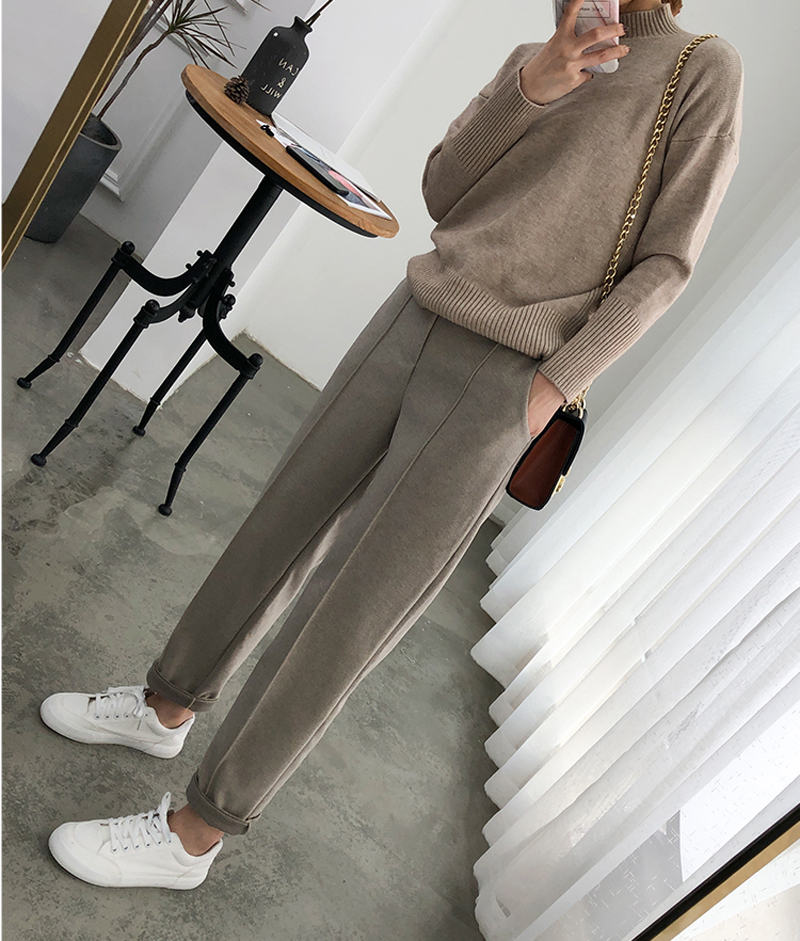H6dbfc650894242bd935f4f6074ea06f3m - Thicken Women Pencil Pants Autumn Winter Plus Size OL Style Wool Female Work Suit Pant Loose Female Trousers Capris 6648 50