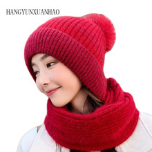 Winter Woman Plush Thicken Knitted Hat and Gloves Sets For Women Pus Velvet Warm Girls Pom Poms Scarf Beanie 3 pieces / s