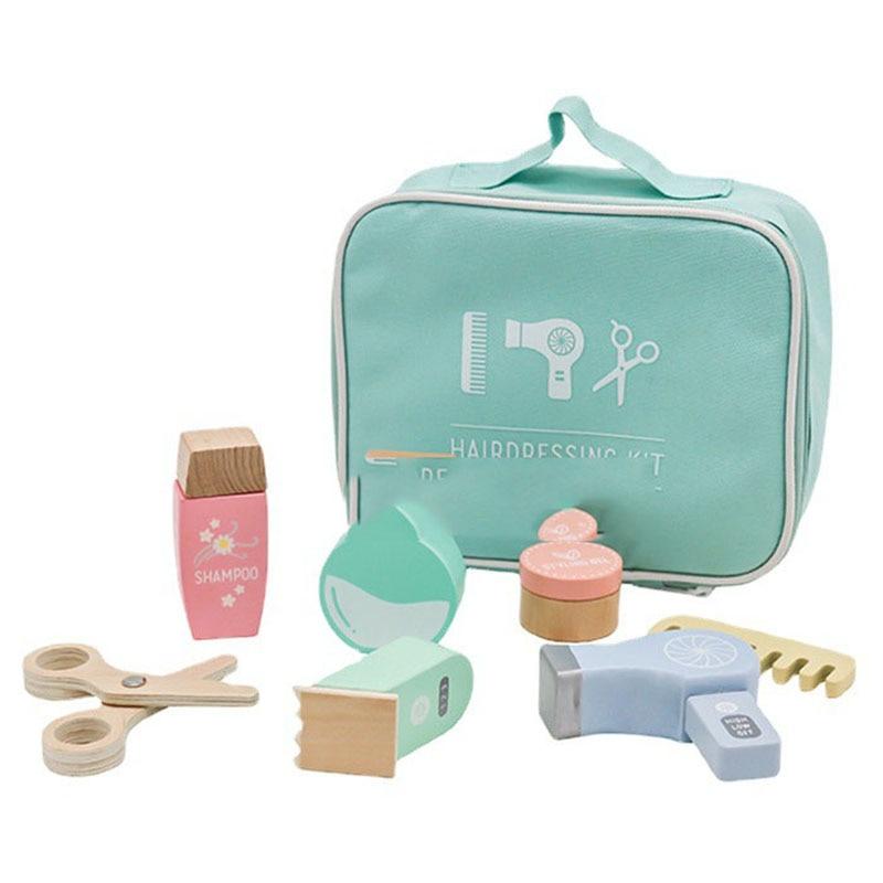 Children Wooden Beauty Makeup Toys Simulation Play House Toys Dresser Girl Princess Cosmetics Bag Set Girls Pretend Toy Gift