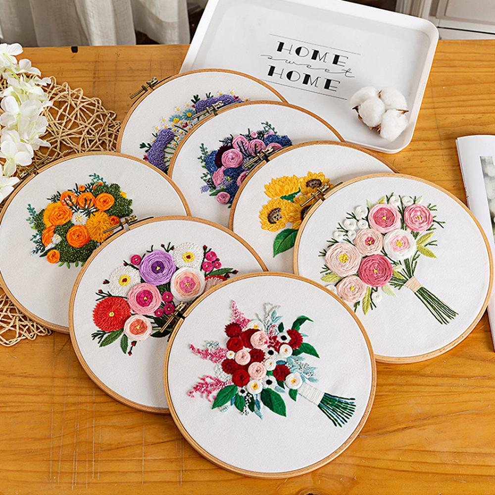 DIY Europe Style Embroidery Ribbon Flowers Set with Frame Beginner Needlework Kits Cross Stitch Series Arts Crafts Sewing Decor