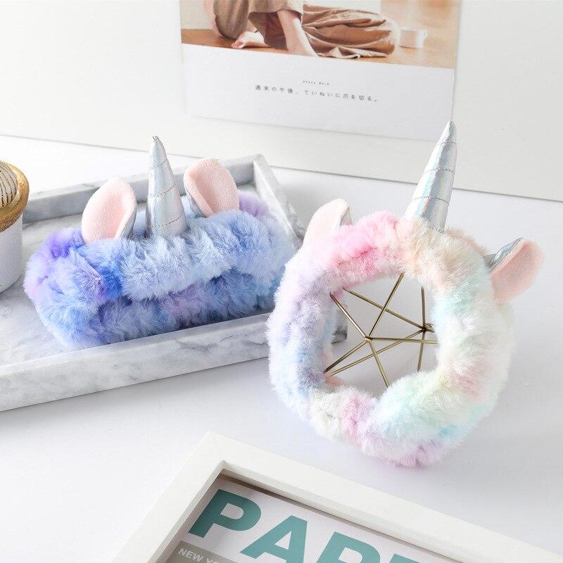 Holiday Soft Rainbow 3D Cartoon Unicorn Hair Hoop Plush Adorable Plush Unicorn Hair Band Animal Unicorn Headband Party Supplies