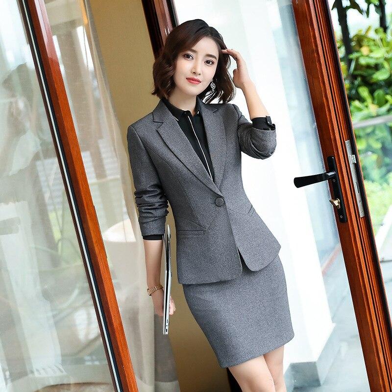 female elegant Women's Pants Suit trouser dress Blazer jacket Suits ladies office wear uniforms suits set 2 pieces Gray vest