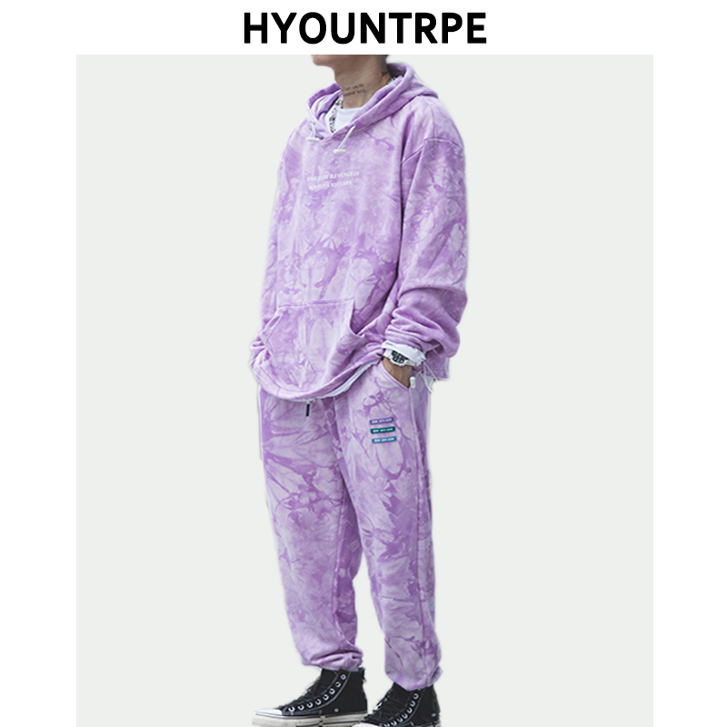 2 Pieces Sets Men's Fashion Tie-dyed Hoodies Top And Elastic Waist Loose Fit Sweatpants Hip Hop New Casual Unisex Streetwear Set
