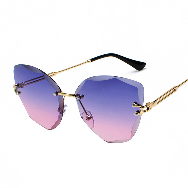 XaYbZc DESIGN Fashion Lady Sun glasses 2020 Rimless Women Sunglasses Vintage Alloy Frame Classic Brand Designer Shades Oculo 6
