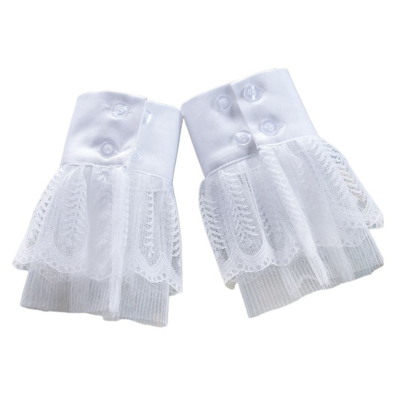 2pcs/pair Women Girl Fake Cuff Crotchet Floral Lace Hollow Out Wrist Decor
