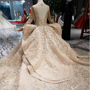 Image 2 - HTL151 golden puffy evening dress tulle o neck long sleeves special puffy skirt women occasion dress court train custom size