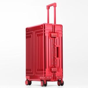Image 4 - Valise de voyage avec roue en alliage daluminium 100%, valise de marque de qualité supérieure à chariot à bagages à main