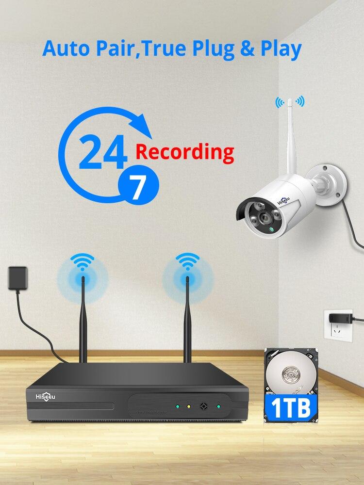 Hiseeu Cctv-System Nvr Wifi Video-Surveillance-Kit Outdoor 1080P Wireless IR-CUT 8CH