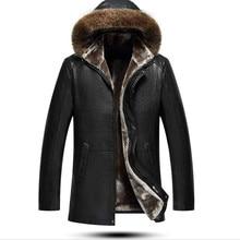Mens Jacket Coats Sheepskin Winter Genuine-Leather Warm Fur Long Wool-Tie-Cap Comfortable