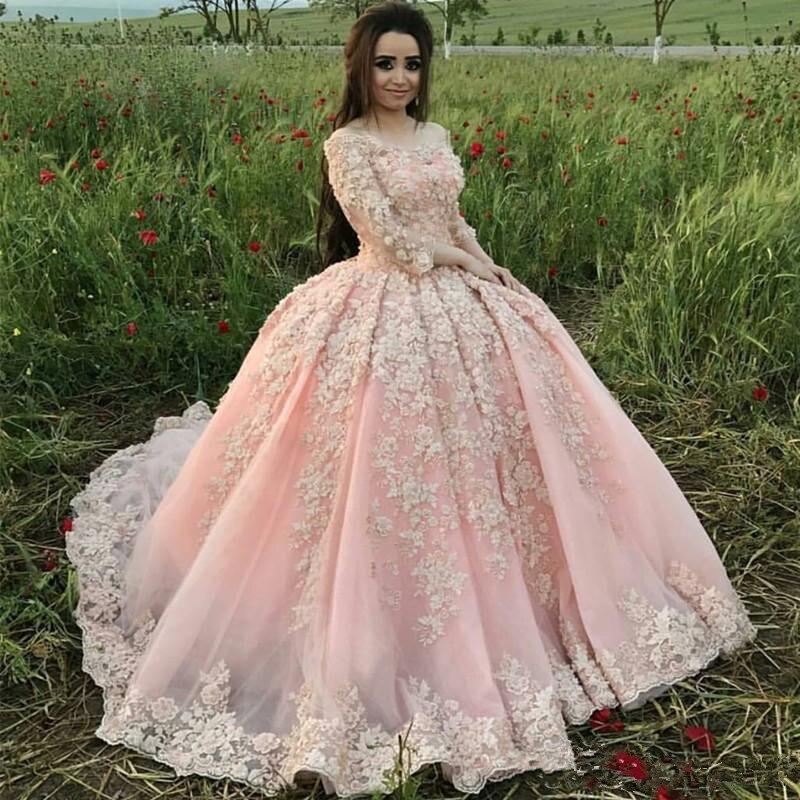 robe de mariage Vintage Ball Gown Pink Wedding Dresses 2020 Vestido de noiva Lace Appliqued Beads Bridal Gowns