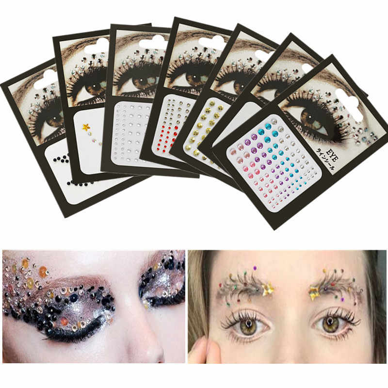 3D Sexy Crystal Jewel Ogen Festival Party Makeup Tools Ogen Tattoo Diy Diamant Glitter Makeup Versiering Sticker 1 Pcs Glitter