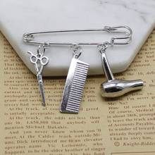 Creative hair stylist popular jewelry hairdressing scissors comb pendant wash and blow brooch