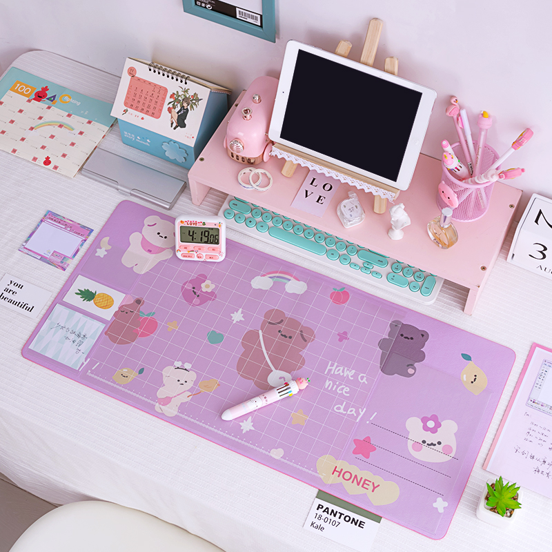 Pink color oversized waterproof flower mouse pad desk pad cute student office supply writing desk mat suitable gift for girl new