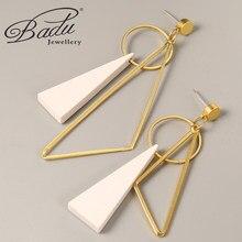 Badu-pendientes irregulares de Pendientes de gota geométricos de Metal para mujer, diseño de triángulo, aretes de exageración para boda, regalo de temperamento para chica