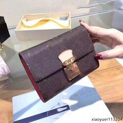 2020 роскошный брендовый Новый кожаный клетчатый кошелек, женские кошельки и кошельки, маленький кошелек из натуральной кожи, внутренний отс...