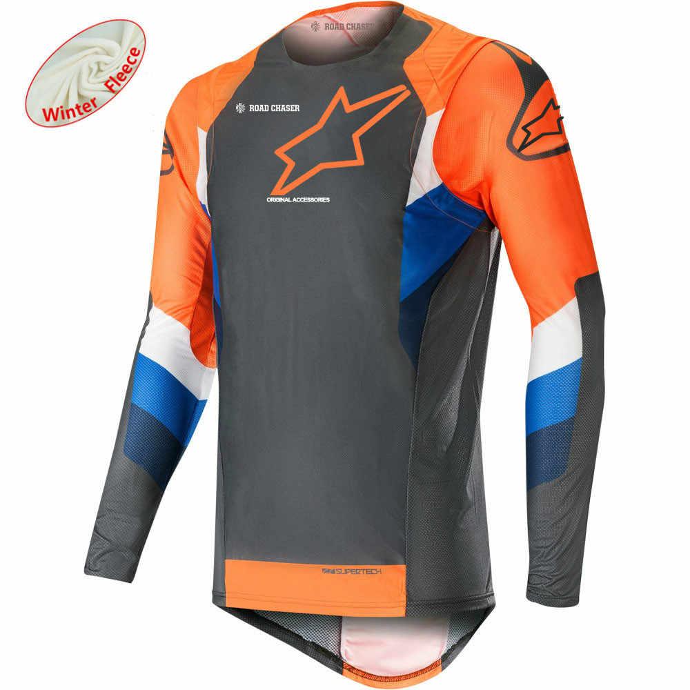 Musim Dingin Musim Gugur Motocicleta Motocross MTB Sepeda Camisetas Kemeja MTB Jersey MX DH Off Road Kaus Populer Bintang MTB Kain
