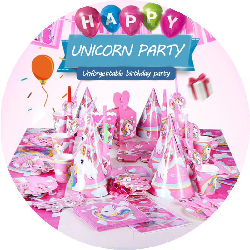 Unicorn Party Decoration Disposable Tableware Decor Supplies Birthday Kids Favors