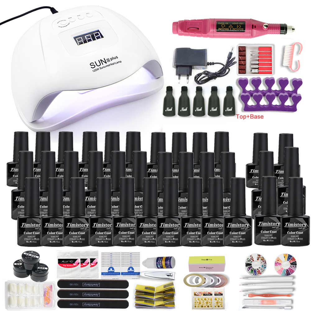 Dropshipping 30/20/10 Set di smalti per unghie a colori 120W Set di Manicure per lampada per unghie Kit acrilico con trapano per unghie 20W di alta qualità