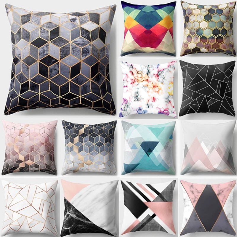 1Pcs Colorful Gemetric Pattern Polyester Throw Pillow Cushion Cover Car Home Decoration Sofa Bed Decorative Pillowcase 40507