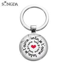 Nowe mody Super Tata brelok francuski artystyczna litera szklany wisiorek klucz uchwyt pierścieniowy dla Maitresse nauczyciel ciocia biżuteria prezent