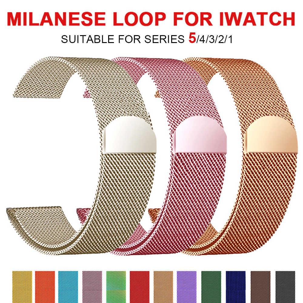Pulsera Milanese Loop banda de acero inoxidable para Apple Watch Serie 12 3 42mm 38mm correa de pulsera para iwatch series 4 5 40mm 44mm