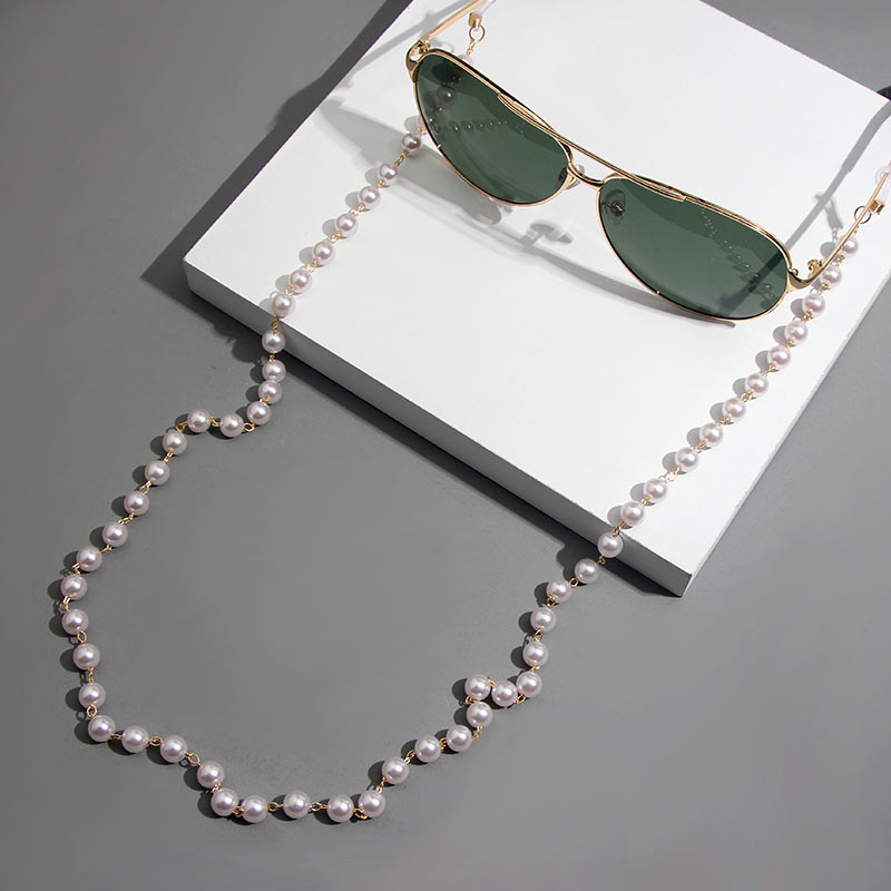 Flatfoosie Imitation Pearl Eyeglass Chain Holders Beaded Sunglass Strap For Women Fashion Glasses Chain Non-slip Neck Strap Rope