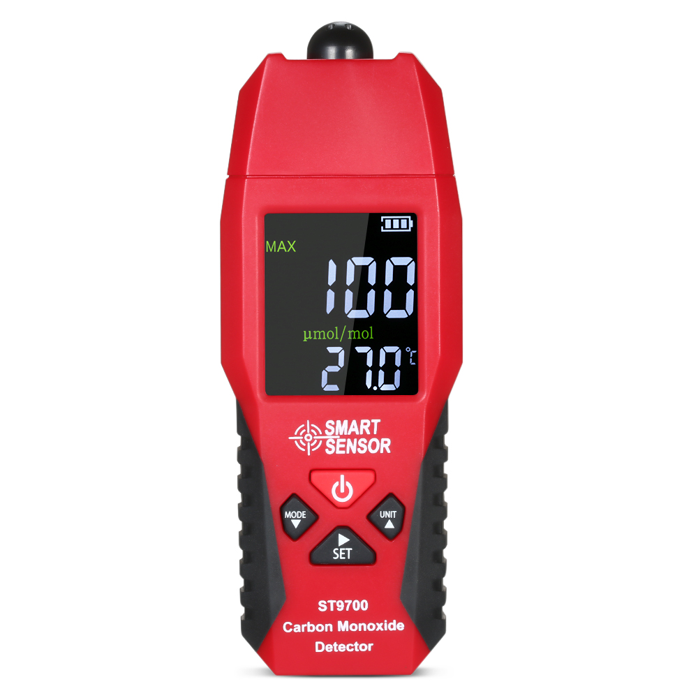 Sensor inteligente st9700 medidor de teste de monóxido de carbono detector de monitoramento medidor display lcd som e luz alarme 0-1000ppm