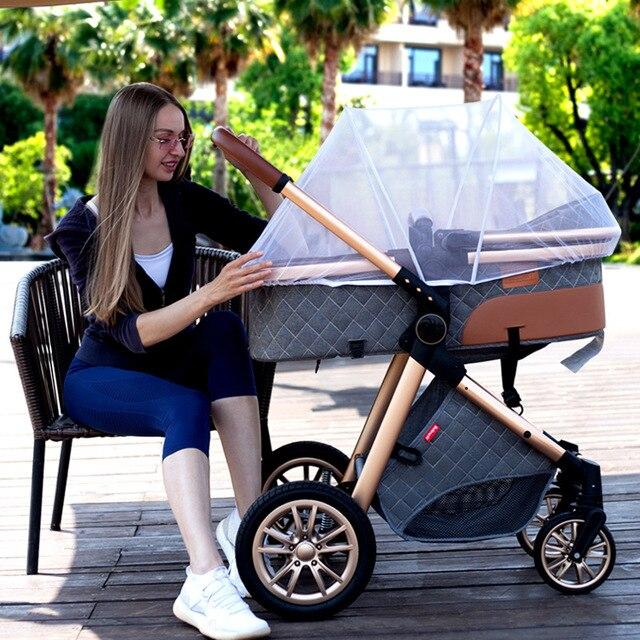 3 em 1 carrinho de bebê luxo alta paisagem carrinho de bebê portátil carrinho de bebê kinderwagen bebê berço dobrável carro novo 5