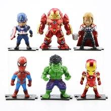 цена на 9CM Marvel Toys Avengers Action Figures Captain America Spider Iron Man Thanos Hulk PVC Model Toys Dolls for Kid Gift 6pc/Set