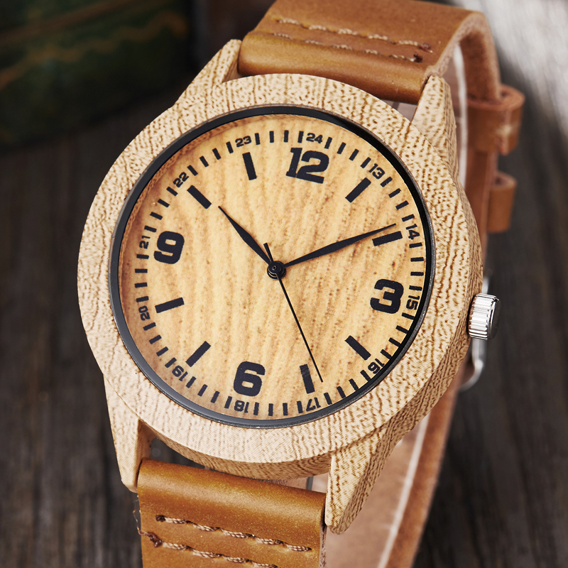 Animal Deer Imitation Wood Watch Men Women Couple Wristwatch Imitate Wooden Watches Acrylic Case Male Brown Wrist Clock Reloj