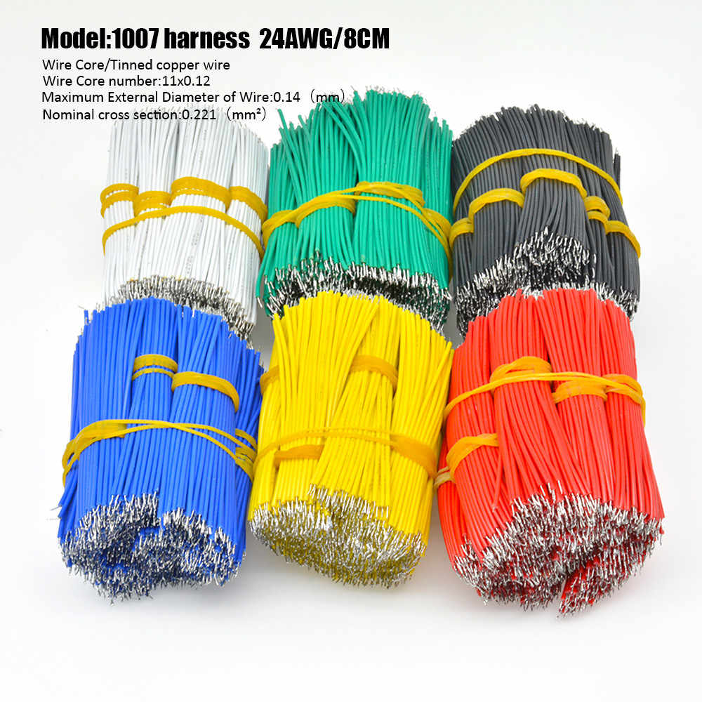 100 stks/partij 24AWG 8cm Vertind Breadboard PCB Solder Cable Fly Jumper Wire Tin Dirigent Draden 1007-24AWG Connector draad