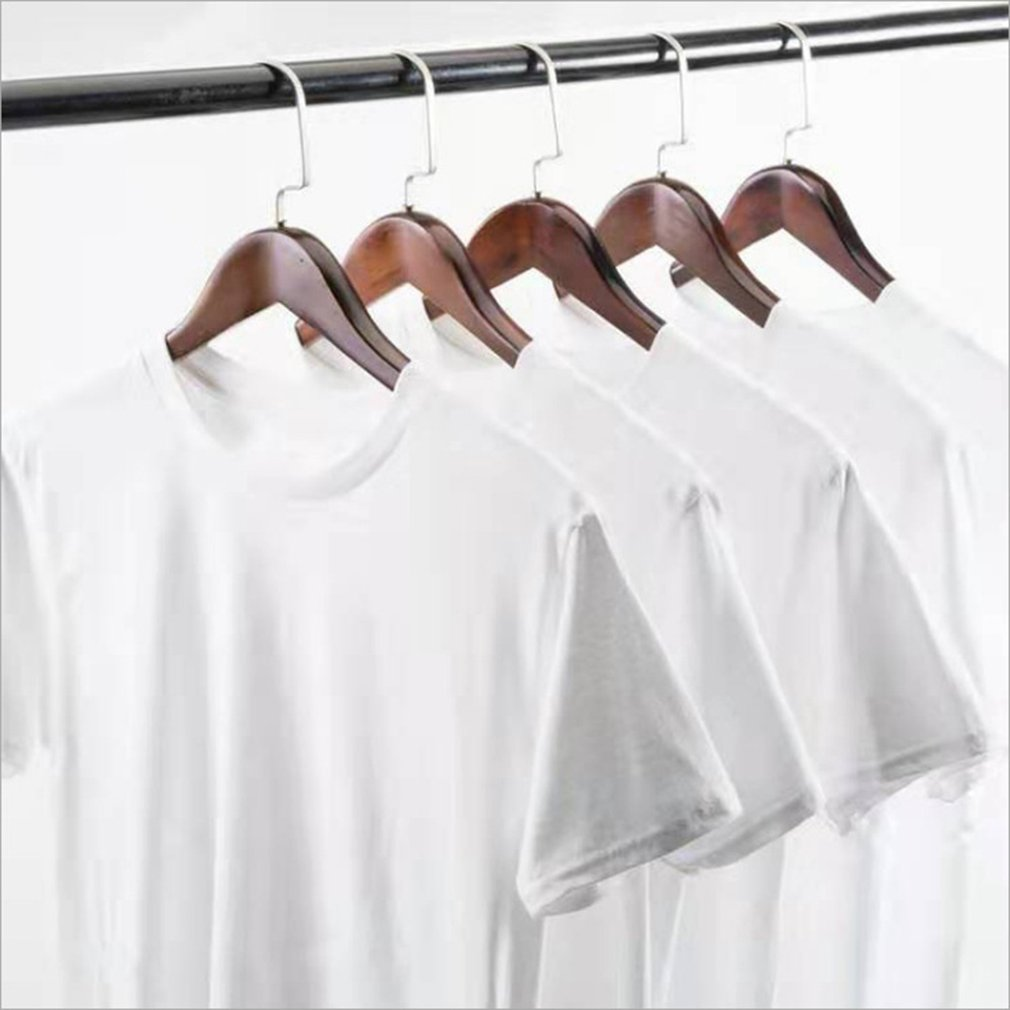 Pure White Men'S Summer T-Shirt Male Cotton Polyester Short Sleeve Round Neck Summer Double Stitched Sleeves And Hem 1 Pcs