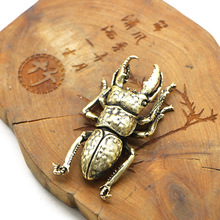 Solid Copper Beetle Decorations Brass Taurus Insect Miniature Figurines Long Horn Bug Satue Desk Decoration Ornament