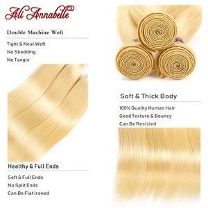 Image 2 - Ali Annabelle 613 sarışın demetleri ile Frontal brezilyalı düz demetleri ile kapatma sarı insan saçı 613 demetleri ile Frontal