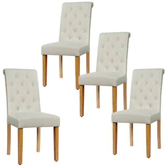 Set of 4 Tufted Dining Chair Parsons Upholstered Fabric Chair with Wooden Legs 6