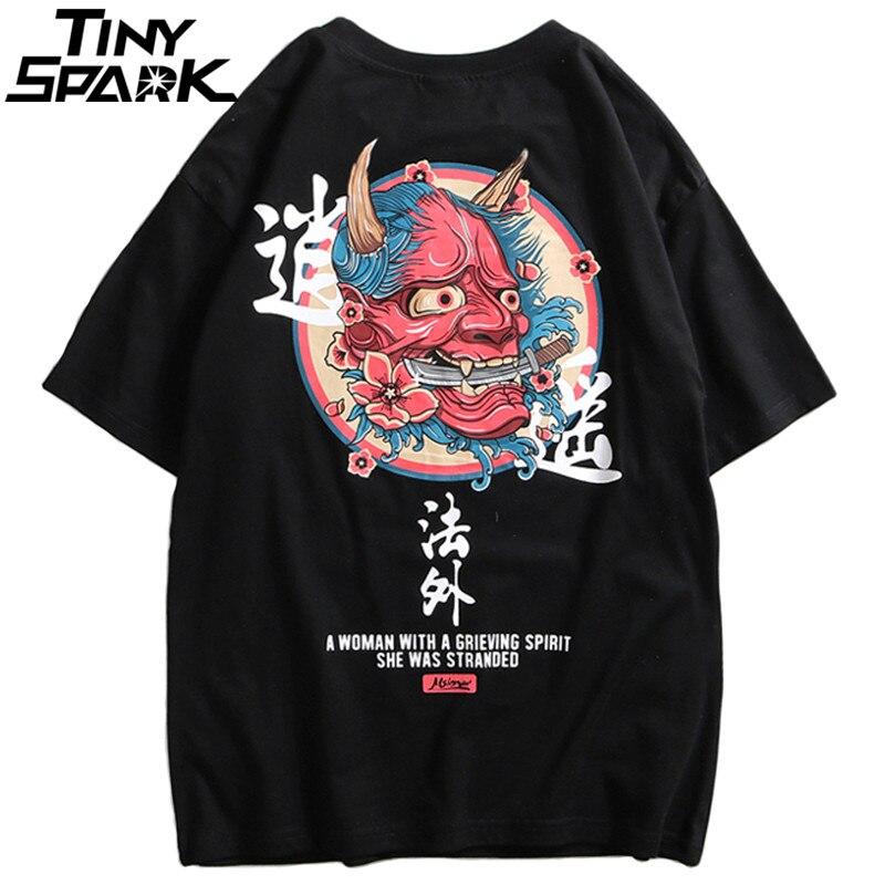 2019 Hip Hop T-Shirt Men Ghost Chinese Charater Print Harajuku T Shirts Streetwear Spring Summer Tshirt Short Sleeve Tops Tees