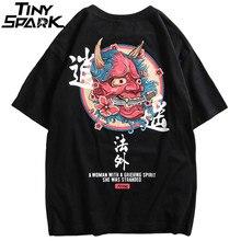 2019 Hip Hop T Shirt erkekler hayalet çin karakter baskı Harajuku T shirt Streetwear İlkbahar yaz gömlek kısa kollu Tees Tops