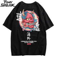 2019 Hiphop T shirt Mannen Ghost Chinese Charater Print Harajuku T shirts Streetwear Lente Zomer Tshirt Korte Mouw Tops Tees