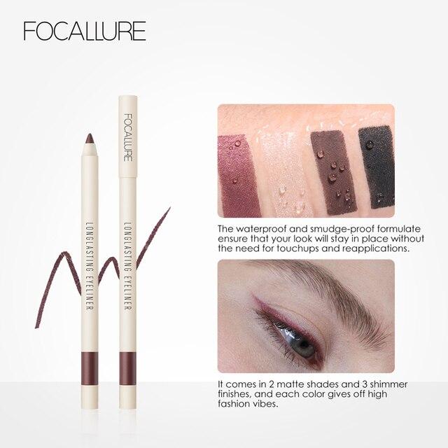 FOCALLURE Long-lasting Gel Eyeliner Pencil Waterproof Easy To Wear Black Liner Pen Eye Makeup Eye Liner 5