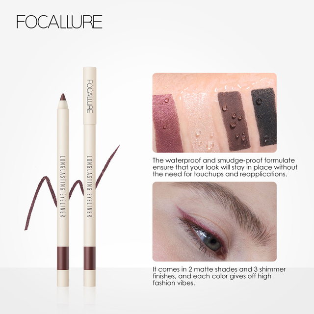 FOCALLURE Long-lasting Gel Eyeliner Pencil Waterproof Easy To Wear Black Liner Pen Eye Makeup 4
