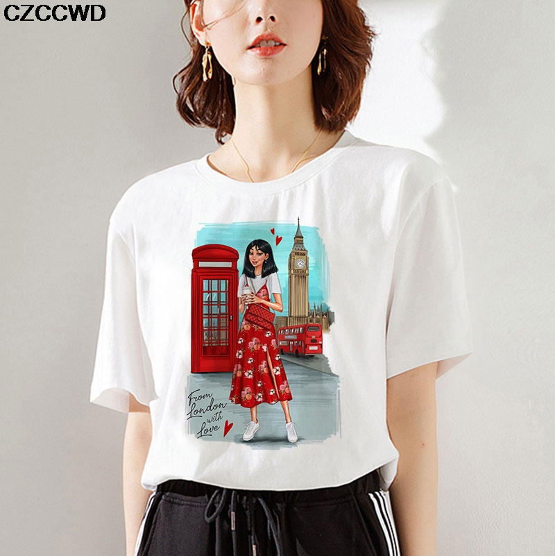 Poleras Mujer De Moda Thin Section T Shirt Women Ulzzang Harajuku Vogue Princess From London With Love Letter Female T-shirt Top image