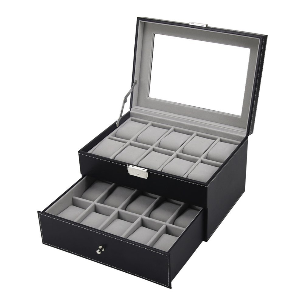 20  Grids Slots Professional Watches Storage Box Double Layers PU Leather Watch Case Organizer Box Holder Black  Colors