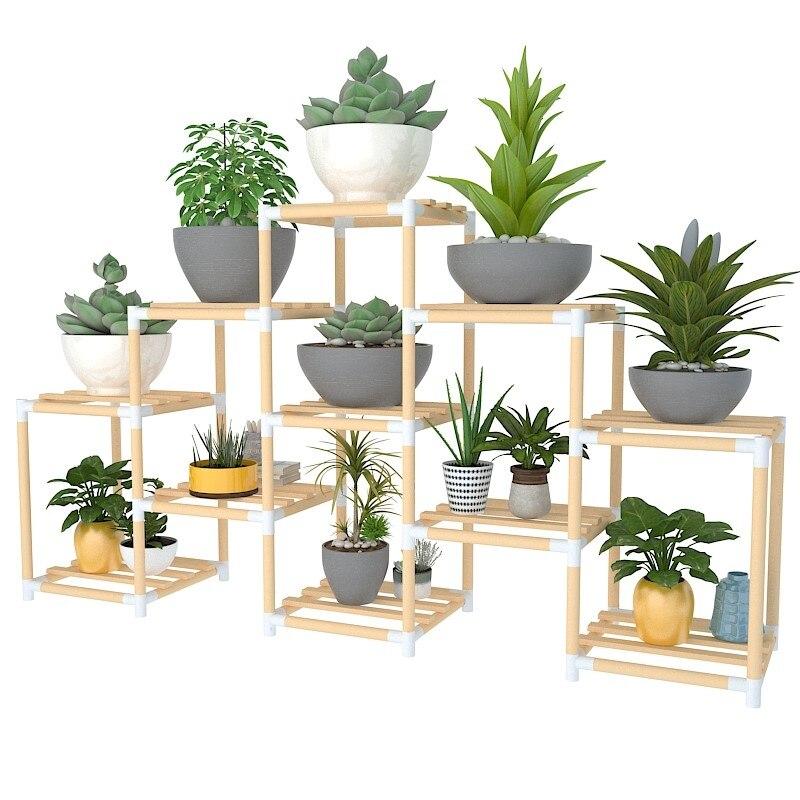Quadro de flor de madeira maciça multi andares interior especial varanda carnudo pequeno vaso de flores prateleira sala de estar simples prateleira de madeira verde|Prateleiras de plantas| |  - title=