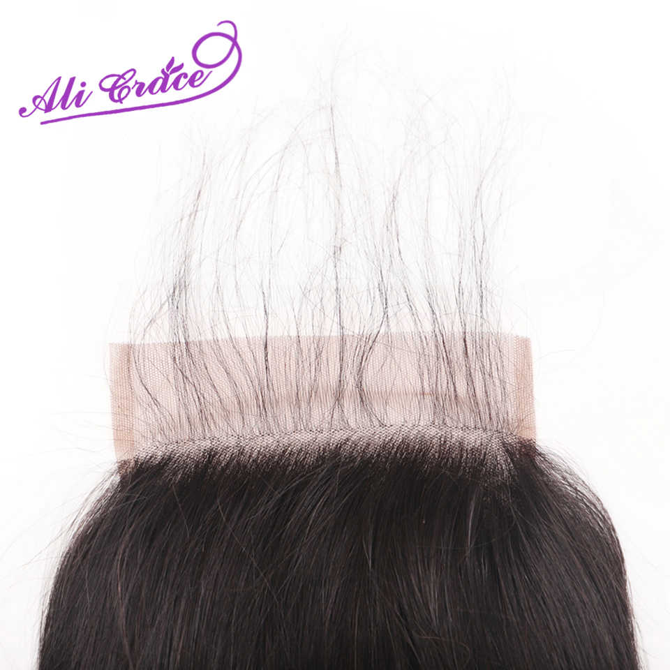 Ali Grace 7X7 Vetersluiting Peruaanse Straight Menselijk Haar Sluiting Met Baby Haar Medium Bruin Kant Kleur Natuurlijke haarlijn