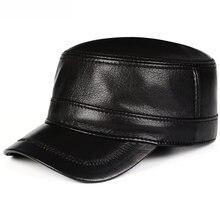 Мужские шапки в стиле милитари из натуральной овечьей кожи на