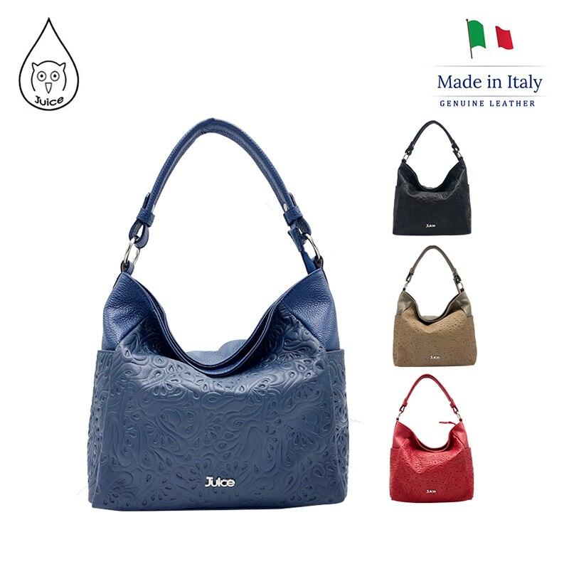JUICE,made In Italy, Genuine Leather, Women Bag,Shoulder Bags,addition Long Shoulder Strap 112175
