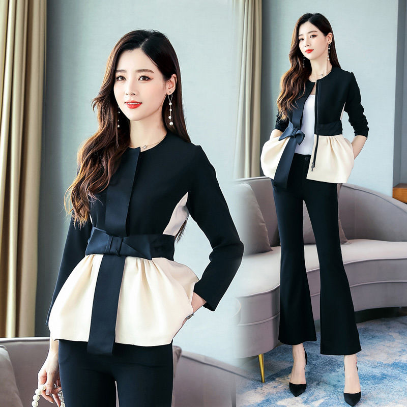 2 Piece Set Women Spring Autumn Europe Cardigan Spliced Bows Blouses Tops And Flare Pants Suits Elegant OL Clothing Set NS360