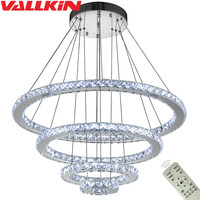Dimmable Modern LED Ring Crystal Chandeliers DIY Shape Indoor Pendant Lamp Hanging Chandelier Lighting Cristal Suspensions Lamps