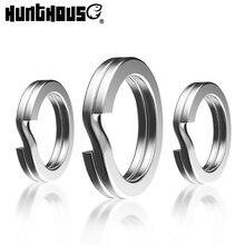 Hunthouse anéis de divisão de pesca giratória conector de aço inoxidável 30 pçs/saco alta qualidade fortalecer 5-10mm círculo duplo redondo snap